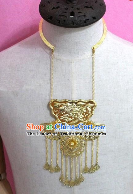 Traditional Chinese Handmade Jewelry Accessories Ancient Bride Golden Tassel Necklace for Women