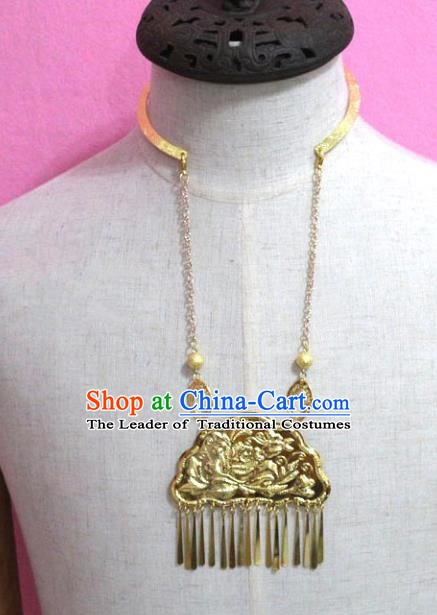 Traditional Chinese Handmade Jewelry Accessories Ancient Bride Golden Necklace Longevity Lock for Women