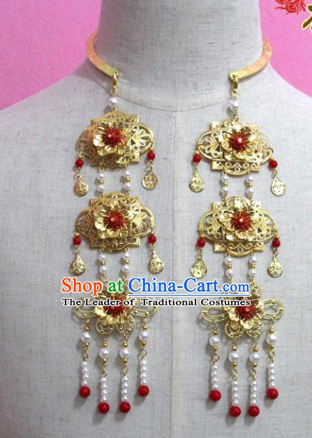 Traditional Chinese Handmade Jewelry Accessories Ancient Bride Necklace Hanfu Pearls Tassel Necklet for Women