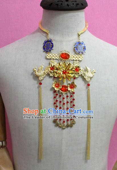 Traditional Chinese Handmade Jewelry Accessories Ancient Bride Necklace Hanfu Phoenix Tassel Necklet for Women