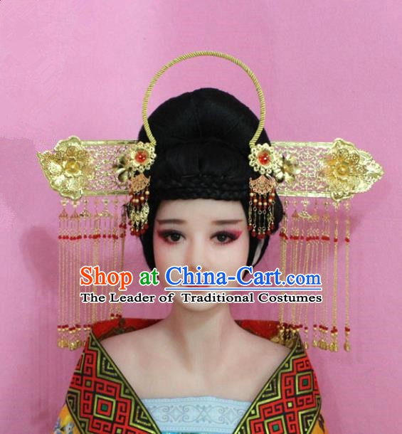 Traditional Chinese Handmade Wedding Hair Accessories Ancient Bride Tassel Hairpins Phoenix Coronet Complete Set for Women