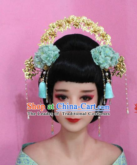 Traditional Chinese Handmade Hair Accessories Ancient Princess Hairpins Tassel Phoenix Coronet for Women