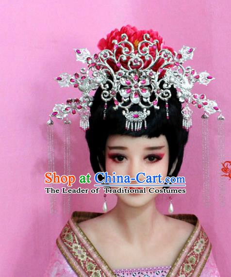 Traditional Chinese Handmade Hair Accessories Ancient Princess Hairpins Rosy Crystal Phoenix Coronet for Women