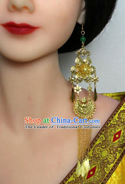 Traditional Chinese Handmade Jewelry Accessories Xiuhe Suit Bride Earrings Hanfu Tassel Eardrop for Women