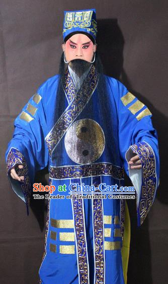Traditional China Beijing Opera Taoist Priest Embroidery Costume, Chinese Peking Opera Blue Embroidered Robe Clothing
