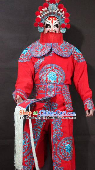 Traditional China Beijing Opera Takefu Embroidery Red Costume, Chinese Peking Opera Soldiers Embroidered Clothing