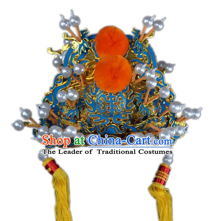 Traditional China Beijing Opera Royal Highness Hats, Chinese Peking Opera Emperor Headwear