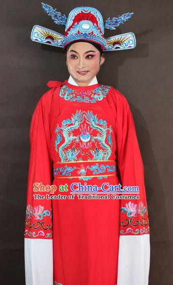 Traditional China Beijing Opera Niche Embroidery Costume, Chinese Peking Opera Lang Scholar Red Embroidered Robe Clothing