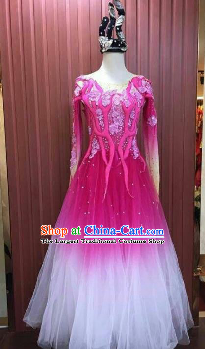 Chinese Traditional Folk Dance Costume Classical Dance Fan Dance Rosy Dress for Women