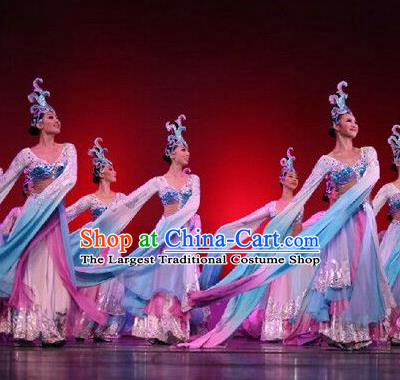Chinese Traditional Folk Dance Costume Classical Dance Water Sleeve Dress for Women