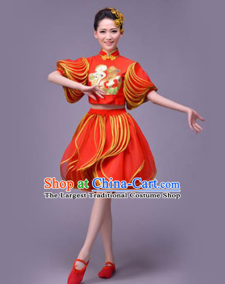 Chinese Classical Dance Costume Traditional Folk Dance Yangko Red Lantern Clothing for Women