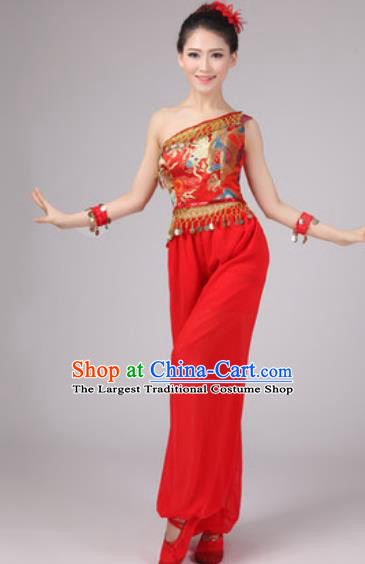 Chinese Classical Dance Drum Dance Costume Traditional Folk Dance Yangko Red Clothing for Women