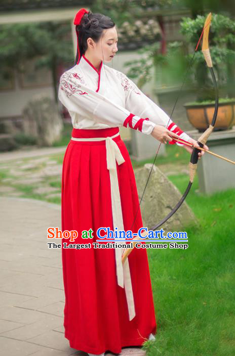 Chinese Ancient Embroidered Costumes Traditional Han Dynasty Swordswoman Hanfu Dress for Women