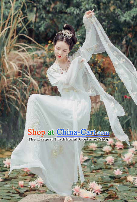 Chinese Ancient Imperial Consort Embroidered Costumes Traditional Tang Dynasty Princess White Hanfu Dress for Women