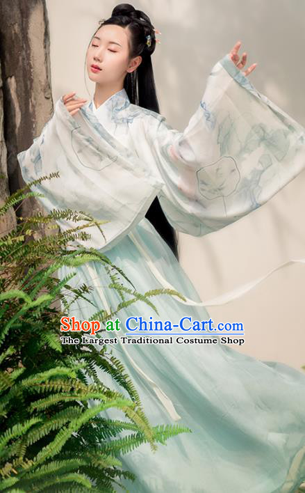 Chinese Ancient Princess Embroidered Costumes Traditional Jin Dynasty Imperial Consort Hanfu Dress for Women