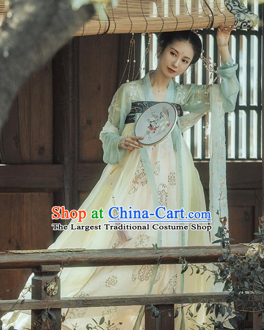 Chinese Ancient Apsara Embroidered Costumes Traditional Tang Dynasty Imperial Consort Hanfu Dress for Women