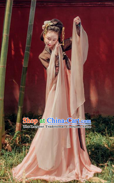 Chinese Ancient Flying Apsara Embroidered Costumes Tang Dynasty Imperial Concubine Hanfu Dress for Women