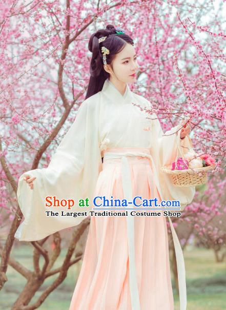 Chinese Traditional Jin Dynasty Princess Costumes Ancient Peri Goddess Embroidered Hanfu Dress for Rich