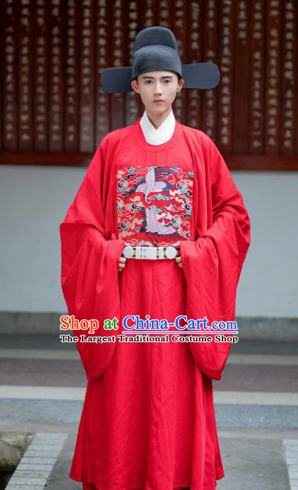 Chinese Ming Dynasty Officer Red Embroidered Robe Ancient Bridegroom Wedding Costumes for Men