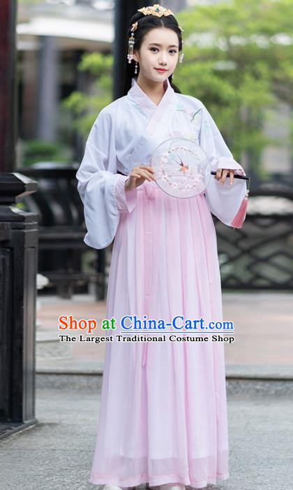 Ancient Chinese Ming Dynasty Princess Historical Costumes Nobility Lady Pink Hanfu Dress for Women