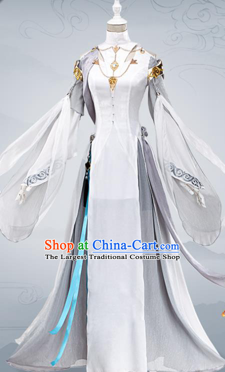 Chinese Traditional Cosplay Female General Costumes Ancient Swordswoman White Dress for Women