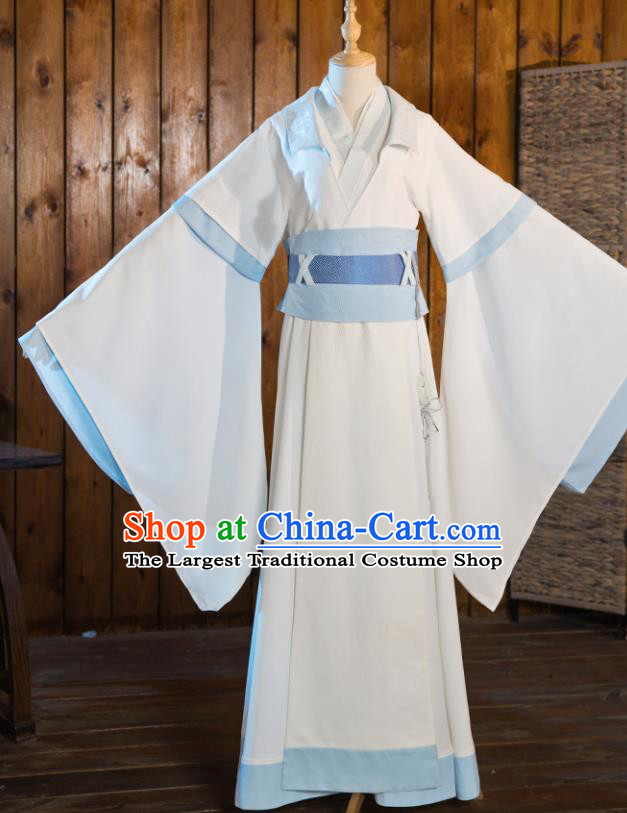 Chinese Traditional Cosplay Nobility Childe Taoist White Costumes Ancient Swordsman Clothing for Men
