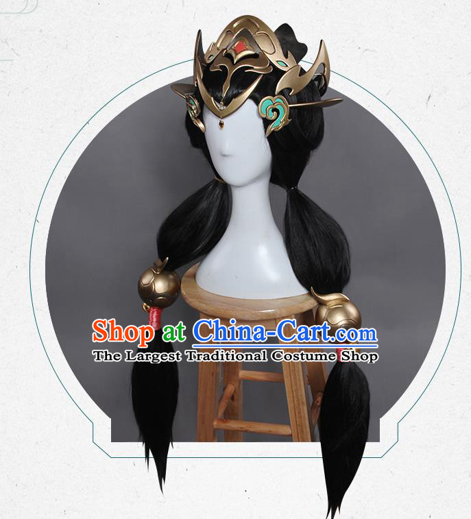 Chinese Traditional Cosplay Hair Accessories Ancient Swordsman Wigs and Headwear for Women
