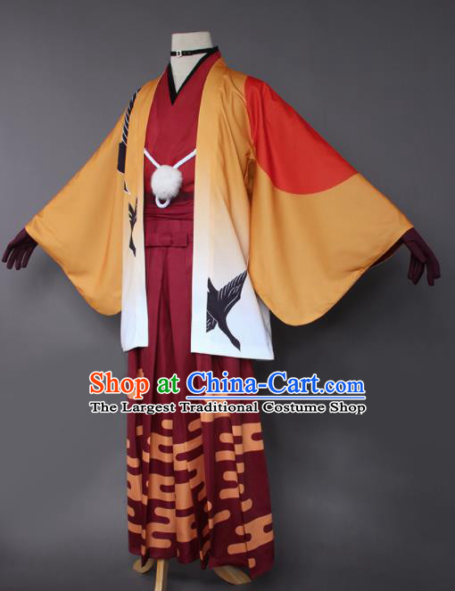 Japanese Traditional Cosplay Knight Costumes Ancient Swordsman Orange Kimono Clothing for Men