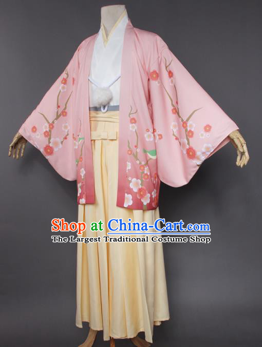 Japanese Traditional Cosplay Knight Costumes Ancient Swordsman Pink Kimono Clothing for Men
