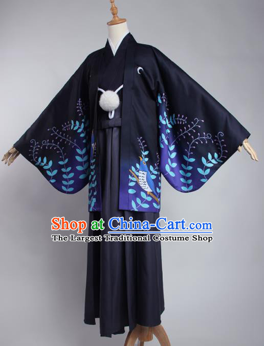 Japanese Traditional Cosplay Knight Costumes Ancient Swordsman Navy Kimono Clothing for Men