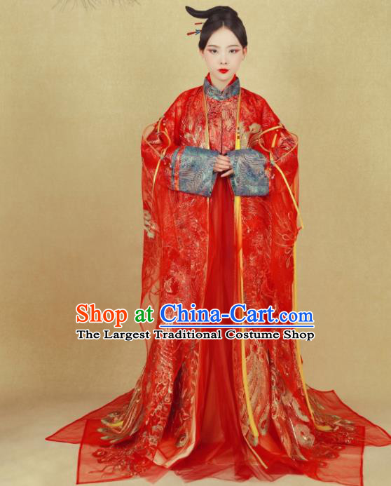 Chinese Ancient Wedding Red Hanfu Dress Ming Dynasty Imperial Empress Embroidered Historical Costumes for Women