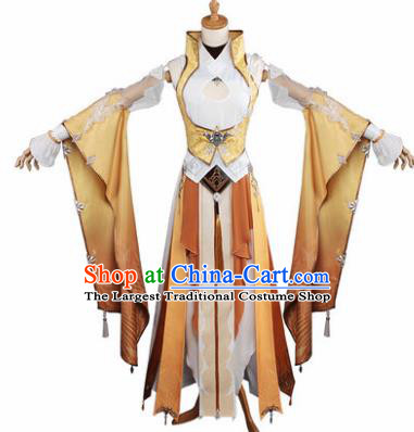Top Grade Chinese Cosplay Young Lady Female Assassin Costumes Ancient Swordswoman Golden Dress for Women