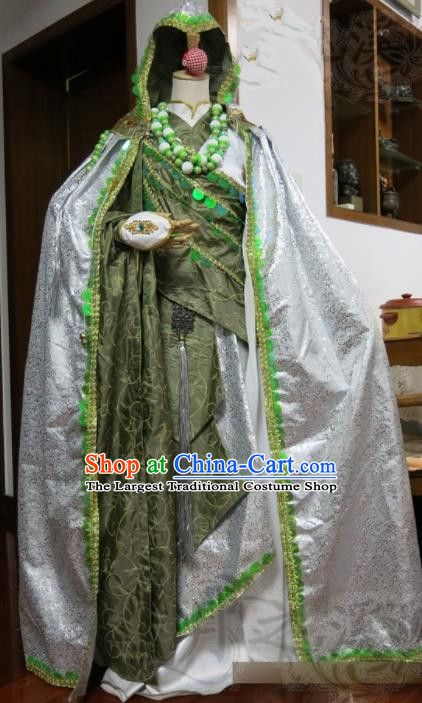 Top Grade Chinese Ancient Cosplay Taoist Priest Swordsman Costumes for Men