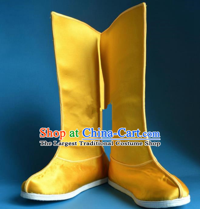 Chinese Traditional Beijing Opera Takefu Shoes Ancient Qing Dynasty Emperor Yellow Satin Boots for Men