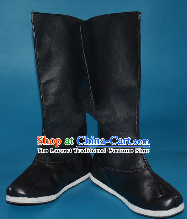 Chinese Traditional Beijing Opera Takefu Leather Shoes Ancient Swordsman Black Boots for Men
