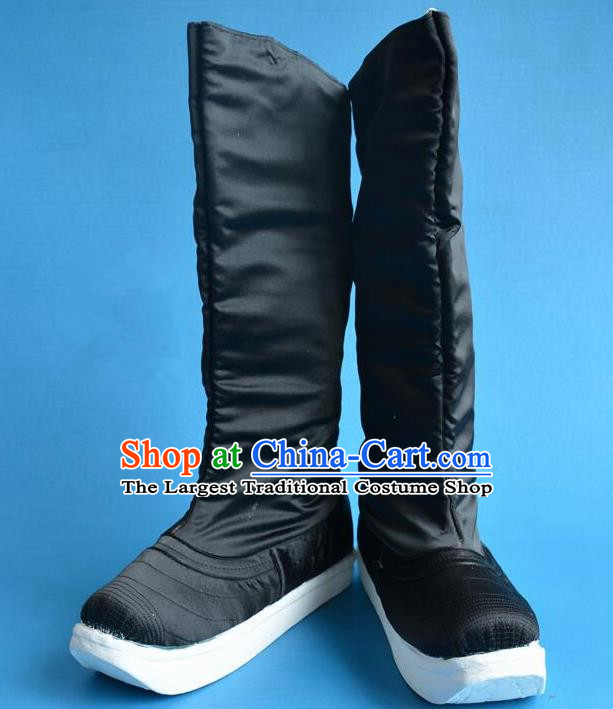 Chinese Traditional Beijing Opera Shoes Ancient Qing Dynasty Minister Boots for Men