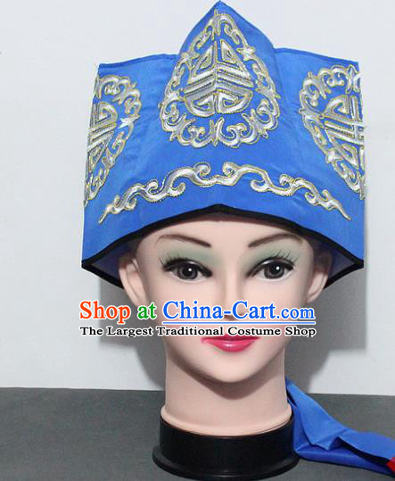 Chinese Traditional Peking Opera Old Gentleman Hat Ancient Ministry Councillor Blue Hat for Men