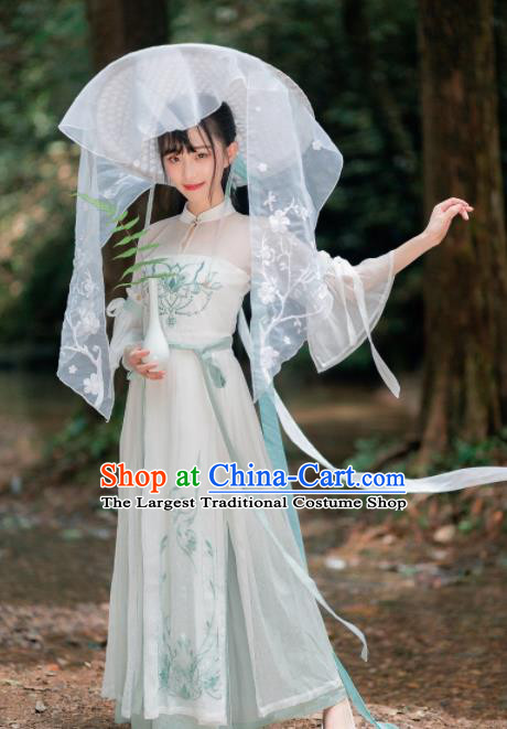 Chinese Ancient Ming Dynasty Young Lady Hanfu Dress Traditional Swordswoman Embroidered Costumes for Women