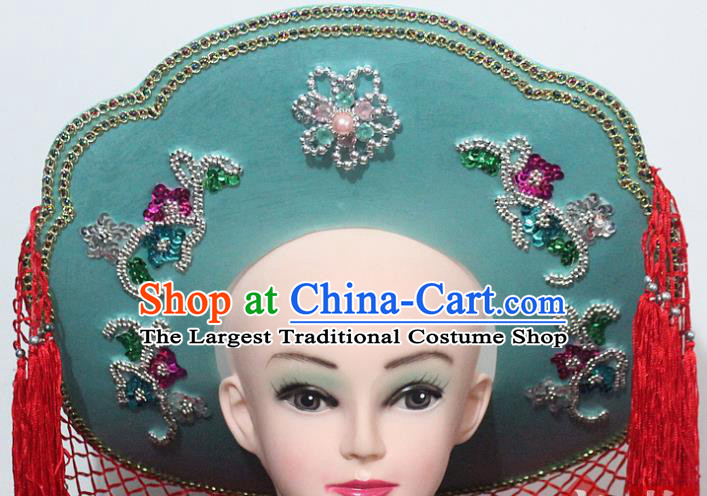Chinese Traditional Peking Opera Fishing Female Hat Ancient Swordswoman Green Hat for Women