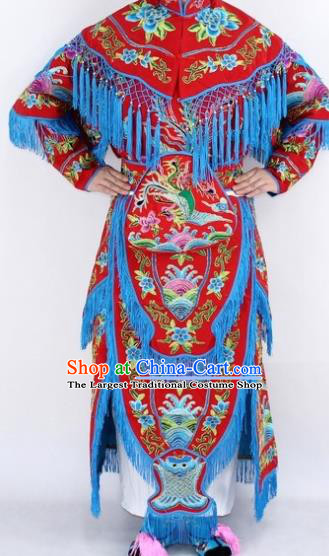 Chinese Traditional Peking Opera Young Lady Costumes Ancient Female General Red Dress for Women