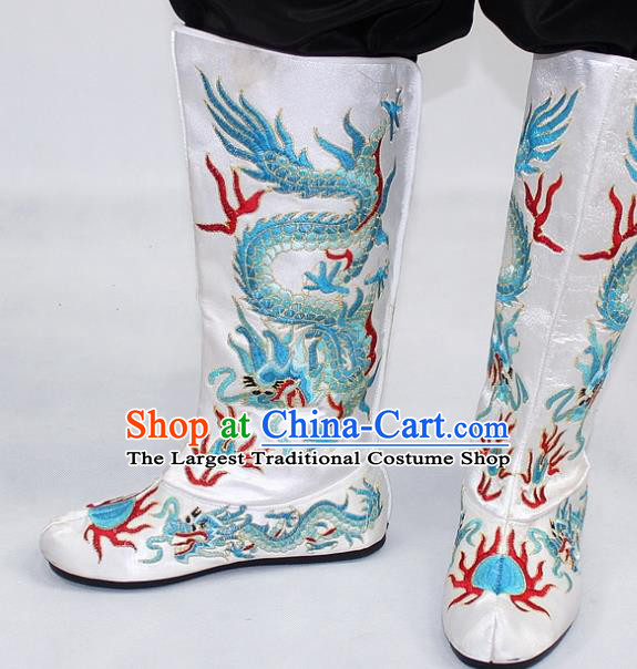 Chinese Traditional Beijing Opera Takefu Shoes Ancient Handmade Emperor Embroidered Dragons White Boots for Men
