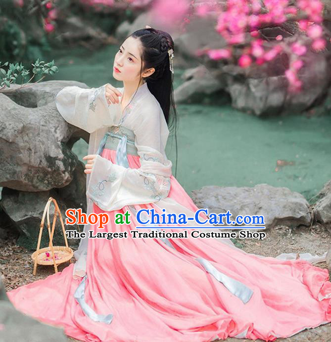 Chinese Ancient Nobility Lady Embroidered Costumes Tang Dynasty Palace Princess Pink Hanfu Dress for Women