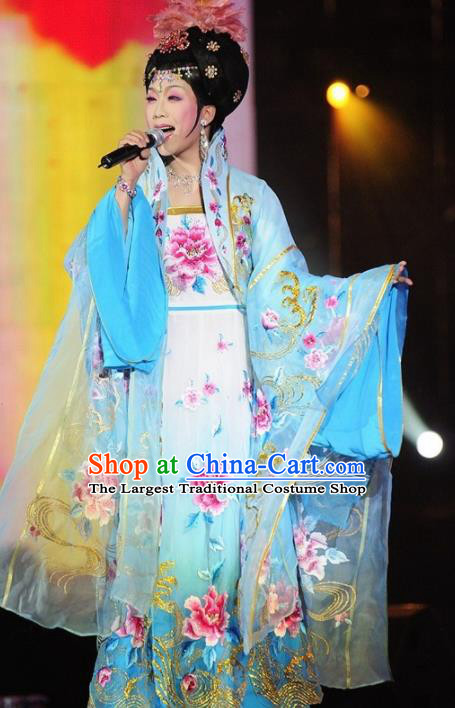 Traditional Chinese Tang Dynasty Classical Dance Costumes Ancient Imperial Consort Blue Embroidered Hanfu Dress for Women