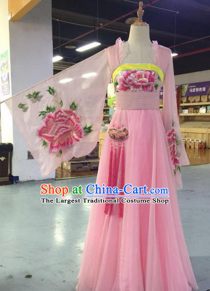 Chinese Traditional Classical Dance Costume Ancient Tang Dynasty Imperial Consort Embroidered Pink Hanfu Dress for Women