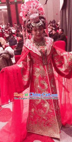 Chinese Traditional Tang Dynasty Embroidered Wedding Costume Ancient Imperial Consort Red Hanfu Dress for Women