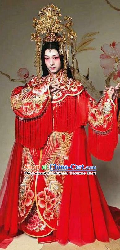 Chinese Traditional Tang Dynasty Wedding Embroidered Costume Ancient Imperial Consort Red Hanfu Dress for Women