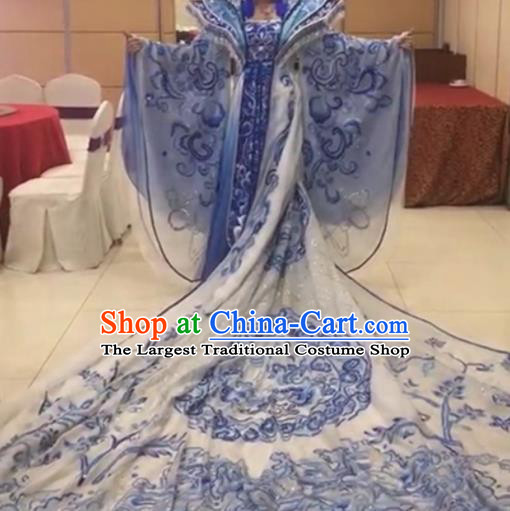 Traditional Chinese Tang Dynasty Embroidered Costume Ancient Imperial Consort Blue Hanfu Dress for Women
