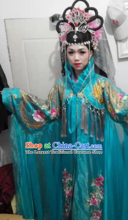Traditional Chinese Tang Dynasty Costume Ancient Imperial Consort Embroidered Blue Hanfu Dress for Women