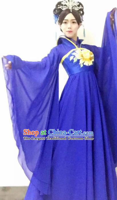 Traditional Chinese Tang Dynasty Costume Ancient Imperial Consort Embroidered Royalblue Hanfu Dress for Women
