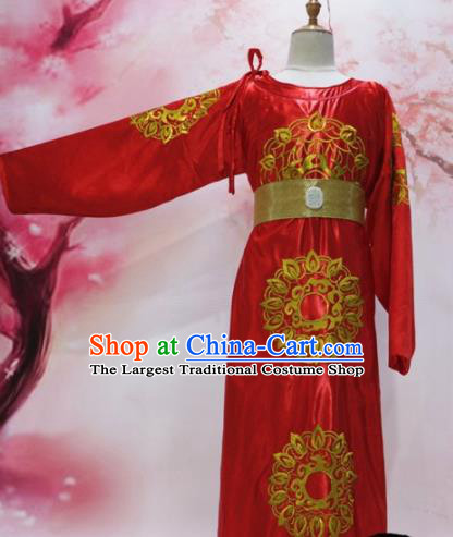 Chinese Traditional Red Embroidered Robe Ancient Tang Dynasty Emperor Costumes for Men